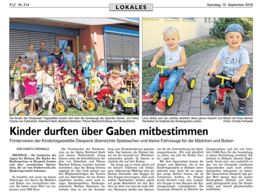 Förderverein übergibt neue Spielsachen im Wert von 2.000€